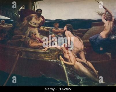 'Ulysses and the Sirens', 1909, (c1950). Illustration to a scene from Homer's Odyssey: Ulysses (or Odysseus), legendary Greek king of Ithaca, is tormented by the voices of the Sirens, who sang to sailors to lure them onto dangerous rocks. Painting in the Ferens Art Gallery in Kingston upon Hull. From The Outline of Literature, edited by John Drinkwater. [George Newnes Limited, London, c1950] - Stock Photo