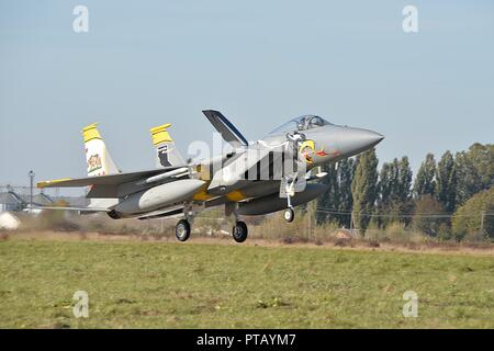 A U.S. Air Force F-15C Eagle fighter jet lands for the first time on Ukrainian soil during operation CLEAR SKY at Starokostiantyniv Air Base October 6, 2018 in Starokostiantyniv, Ukraine. The aircraft will participate in the largest NATO aviation exercise ever held in Ukraine. - Stock Photo