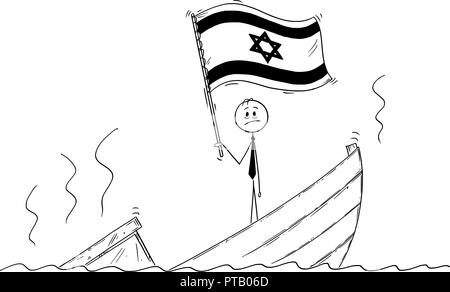 Cartoon of Politician Standing Depressed on Sinking Boat Waving the Flag of State of Israel - Stock Photo