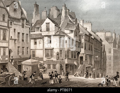 John Knox's House, High Street, Edinburgh, Scotland, 19th century, from Modern Athens by Th. H. Shepherd - Stock Photo