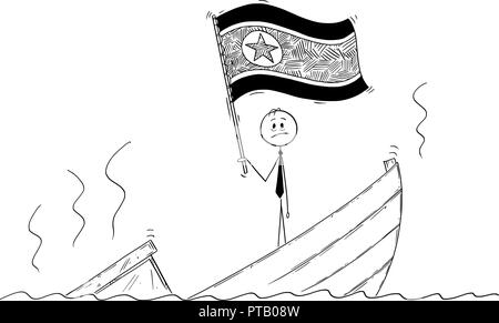 Cartoon of Politician Standing Depressed on Sinking Boat Waving the Flag of Democratic People's Republic of Korea or North Korea - Stock Photo