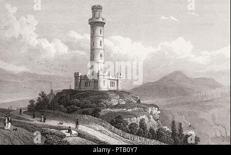 Nelson's Monument, Calton Hill, Edinburgh, Scotland, 19th century, from Modern Athens by Th. H. Shepherd - Stock Photo