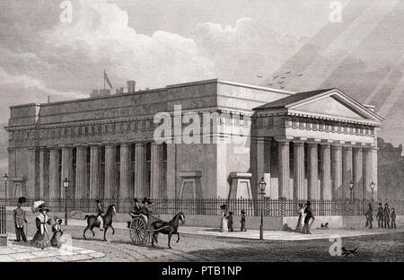 Royal Institution; Royal Scottish Academy, Edinburgh, Scotland, 19th century, from Modern Athens by Th. H. Shepherd - Stock Photo