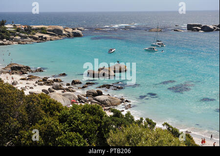 Rocky private beaches at Camps Bay, Holiday Resort in Cape Town South Africa - Stock Photo