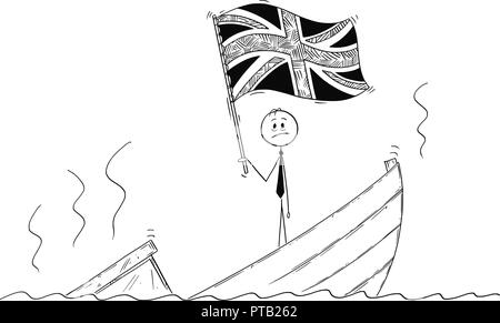 Cartoon of Politician Standing Depressed on Sinking Boat Waving the Flag of United Kingdom of Britain - Stock Photo