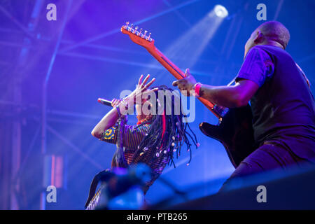 Malian singer and guitarist, Fatoumata Diawara, performing at George Square, Glasgow, Scotland, on 12th August, 2018, during Festival 2018 - Stock Photo