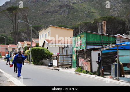 The township village of Imizamo Yethu a shanty town in Hout Bay, Cape Town, South Africa - Stock Photo
