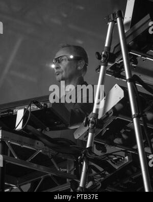 Paul Hartnoll of EDM duo, Orbital, performing at George Square, Glasgow, Scotland, on 10th August, 2018, during Festival 2018 - Stock Photo