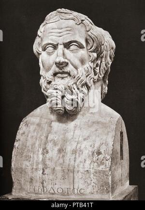 Bust of Herodotus, c. 484 – c. 425 BC. Ancient Greek historian. - Stock Photo