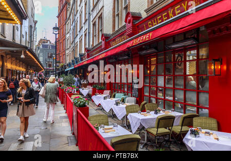 Exterior of the famous up market J. Sheekey seafood restaurant in St Martin's Court in the heart of Theatreland, Covent Garden, West End of London - Stock Photo