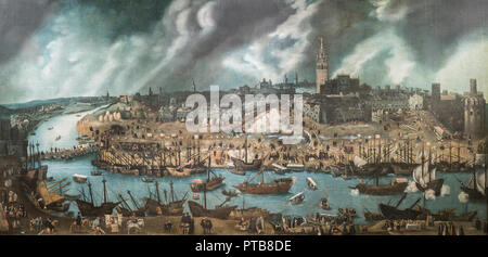Madrid, Spain - Sept 8th, 2018: Seville in the 16th century, Golden Colonial Age. Painter Alonso Sánchez Coello,  Museum of the Americas, Madrid, Sp - Stock Photo
