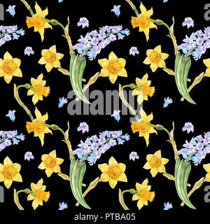 Watercolor botanical illustration in country style. Blue hyacinth and yellow daffodil on a black. Seamless patterns, path included - Stock Photo