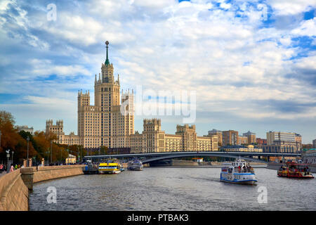 MOSCOW, RUSSIA -October 7, 2018: View on the Moskvoretskaya embankment and high-rise building on the Kotelnicheskaya embankment and Moskva-river. Autu - Stock Photo