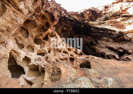 Aboriginal caves in Gran Canaria, Canary islands, Spain. Abstract background. Cenobio de Valeron - Stock Photo