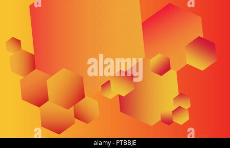 Fiery abstract background full of various hexagons - Stock Photo