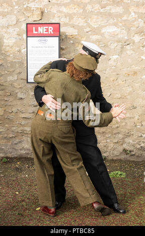 Pickering Wartime weekend, North Yorkshire Moors Railway, Pickering, North Yorkshire, England. UK - Stock Photo