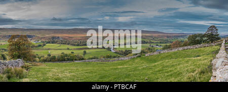North Pennines AONB panoramic landscape, west to south west over Teesdale from Stoney Gill Head in autumn - Stock Photo