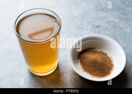 Concentrated Herbal Tea Powder for Stomach Gastric Problem / Lemon Flavored. Organic Beverage for Healthcare. - Stock Photo