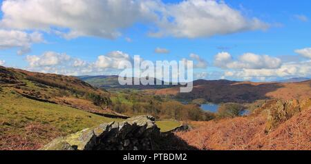View towards Coniston Water from East of the Lake in the English Lake District Cumbria UK. - Stock Photo