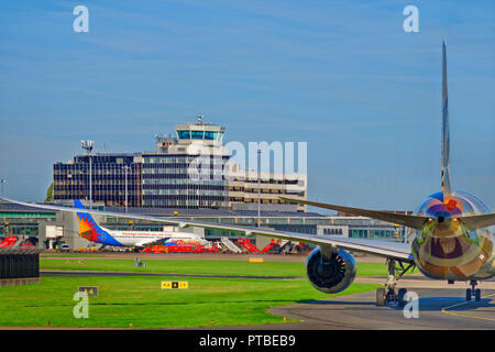 Manchester Airport and Jet2 aircraft, Ringway, Greater Manchester, England. UK. - Stock Photo