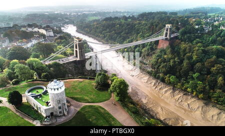 Drone shot of Clifton Suspension Bridge with the observatory in the foreground, Bristol, England - Stock Photo