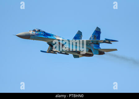 Ukrainian Air Force Sukhoi Su-27 Flanker jet fighter at the Royal International Air Tattoo, RIAT, RAF Fairford, in the Cotswolds. Blue sky - Stock Photo