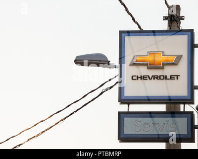 BELGRADE, SERBIA - OCTOBER 8, 2018: Chevrolet logo on their main dealership store Belgrade. Chevrolet, or Chevy, is an American car and automotive man - Stock Photo