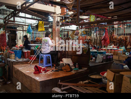 Inside a local market, Battambang province, Battambang, Cambodia - Stock Photo
