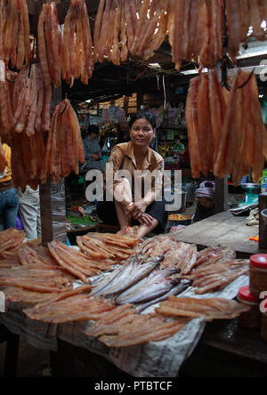 Cambodian woman selling dry fishes in a market, Phnom Penh province, Phnom Penh, Cambodia - Stock Photo