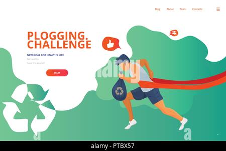 Plogging landing concept vector illustration with a runner, trash or litter bag and a waste recycle icon. Cleaning garbage marathon or plogging eco ch - Stock Photo