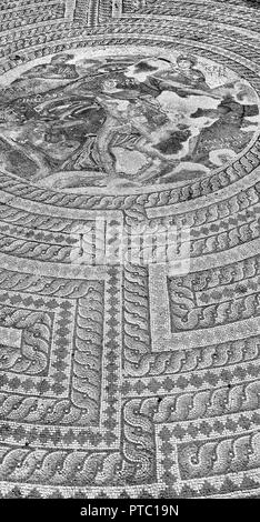 in paphos cyprus the old mosaic in the antique roman ruin the old civilization - Stock Photo