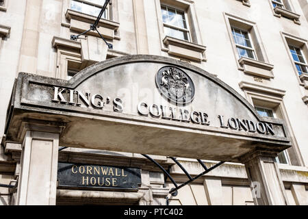 London England United Kingdom Great Britain Lambeth South Bank King's College Cornwall House public research university campus building exterior entra - Stock Photo