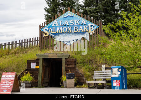 AUGUST 12 2018 - FAIRBANKS ALASKA: Sign for the Alaskan Salmon Bake in Pioneer Park, a nightly buffet serving fish and other food during summer - Stock Photo