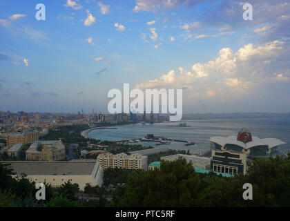 Baku Scenic Afternoon City View of the Coastal Districts - Stock Photo