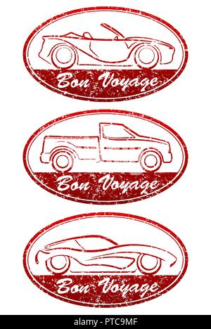 Set of 3 Bon Voyage grunge style oval red rubber stamps with cars. There are cabriolet, pickup and sport car. - Stock Photo