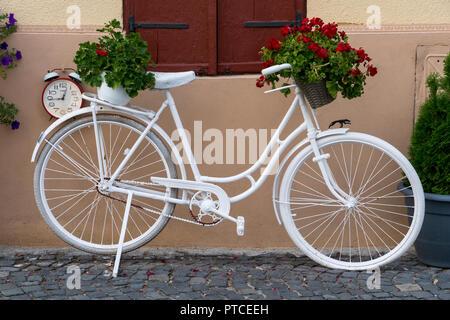 SIBIU, TRANSYLVANIA/ROMANIA - SEPTEMBER 16 : View of a white bicycle in Sibiu Transylvania Romania on September 16, 2018 - Stock Photo
