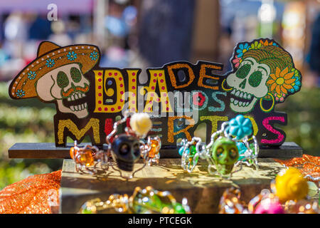 Colorful decorations for Day of the Dead/Dia de los Muertos celebration - Stock Photo