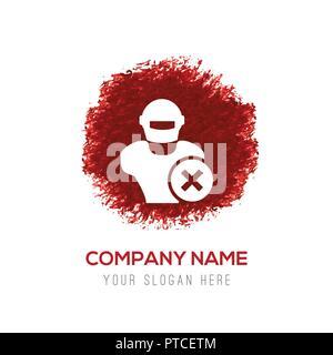 Hacker Icon - Red WaterColor Circle Splash - Stock Photo