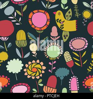Vector colorful folk floral seamless pattern background. Ideal for fabrics, textiles, scrapbooking, wallpapers and crafts. - Stock Photo