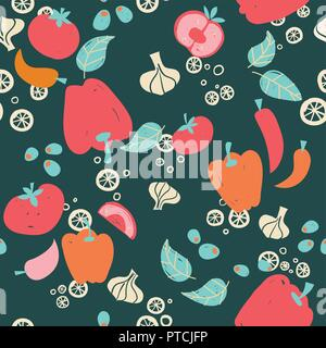 Vector vegetables on dark background seamless pattern background. Perfect for crafting projects, quilting, scrapbooking and other paper ideas - Stock Photo