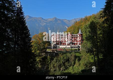 A view of the GrandHotel Giessbach located in Brienz, Switzerland. - Stock Photo
