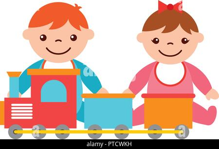 baby boy and girl with train toy - Stock Photo