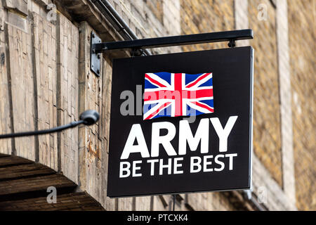 London, UK - September 12, 2018: Closeup of Army advertisement recruiting recruitment office sign, national flag, 'be the best' slogan in United Kingd - Stock Photo