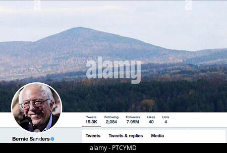 Twitter page for Bernie Sanders. Bernard Sanders is an American politician serving as the junior United States Senator from Vermont since 2007. - Stock Photo