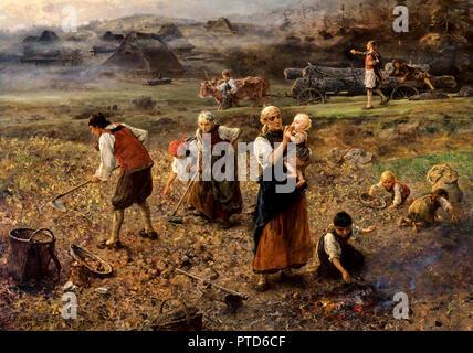 Ludwig Knaus, Potato Harvest 1889 Oil on panel, Grohmann Museum, Milwaukee, USA. - Stock Photo