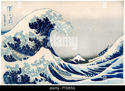 Katsushika Hokusai, Under the Wave off Kanagawa / Kanagawa-oki nami-ura, Also Known as the Great Wave, From the Series Thirty-six Views of Mount Fuji / Fugaku sanjurokkei, Circa 1830-1831, Color woodblock print, Museum of Fine Arts Boston, USA. - Stock Photo