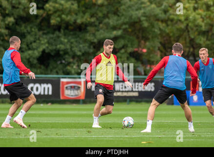Hensol, Wales, UK. 8th Oct 2018. Ben Davies during Wales national team training at the Vale Hotel and Resort in Hensol near Cardiff this morning ahead of the International Challenge match against Spain on Thursday evening. Credit: Phil Rees/Alamy Live News - Stock Photo