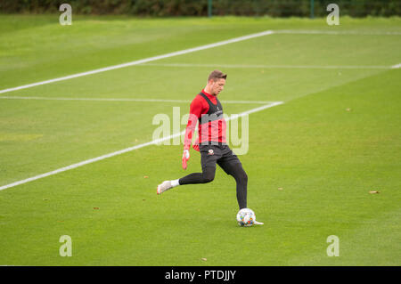 Hensol, Wales, UK. 8th Oct 2018. Welsh goalkeeper Wayne Hennessey during Wales national team training at the Vale Hotel and Resort in Hensol near Cardiff this morning ahead of the International Challenge match against Spain on Thursday evening. Credit: Phil Rees/Alamy Live News - Stock Photo