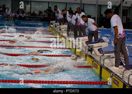 Buenos Aires, Argentina. 08th Oct, 2018. Swimmers compete in the 200 metres freestyle swimming finale during the Buenos Aires 2018 Youth Olympic Games. Credit: Gustavo Ortiz/dpa/Alamy Live News - Stock Photo