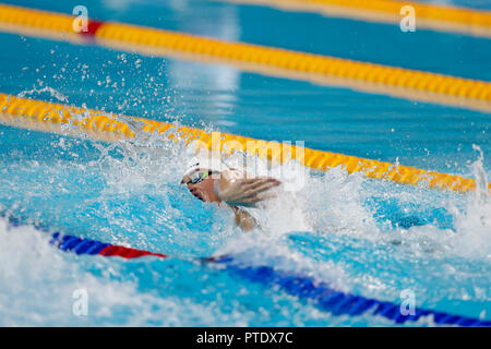 Buenos Aires, Argentina. 08th Oct, 2018. Kristof Milak, from Hungary, competes in the 200 metres freestyle swimming during the Buenos Aires 2018 Youth Olympic Games. Credit: Gustavo Ortiz/dpa/Alamy Live News - Stock Photo